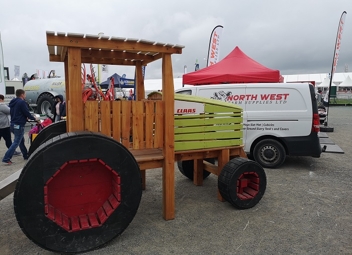 Wooden Claas tractor on display at Balmoral Show 2019